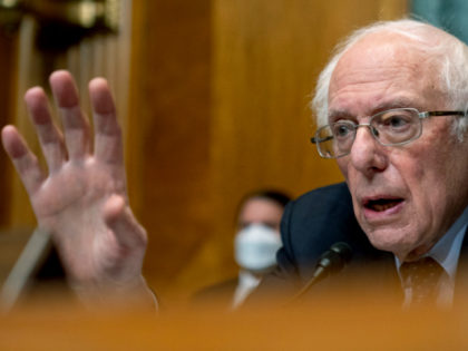 Chairman Sen. Bernie Sanders, I-Vt., speaks as Neera Tanden, President Joe Biden's nominee for Director of the Office of Management and Budget (OMB), testifies during a Senate Committee on the Budget hearing on Capitol Hill in Washington, Wednesday, Feb. 10, 2021.(AP Photo/Andrew Harnik, Pool)
