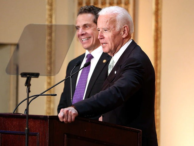NEW YORK, NY - MARCH 16: Governor of New York State Andrew Cuomo (L) and 47th Vice President of the United States Joe Biden speak on stage at the HELP USA 30th Anniversary Event at The Plaza Hotel on March 16, 2017 in New York City. (Photo by Monica Schipper/Getty …