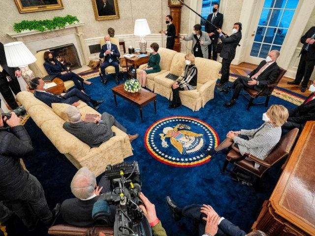 WASHINGTON, DC - FEBRUARY 01: U.S. President Joe Biden (Center R) and Vice President Kamala Harris (Center L) meet with 10 Republican senators, including Mitt Romney (R-UT), Bill Cassidy (R-LA), Susan Collins (R-ME), Lisa Murkowski (R-AK), Thom Tillis (R-NC), Jerry Moran (R-KS), Shelley Moore Capito (R-WV) and others, in the …