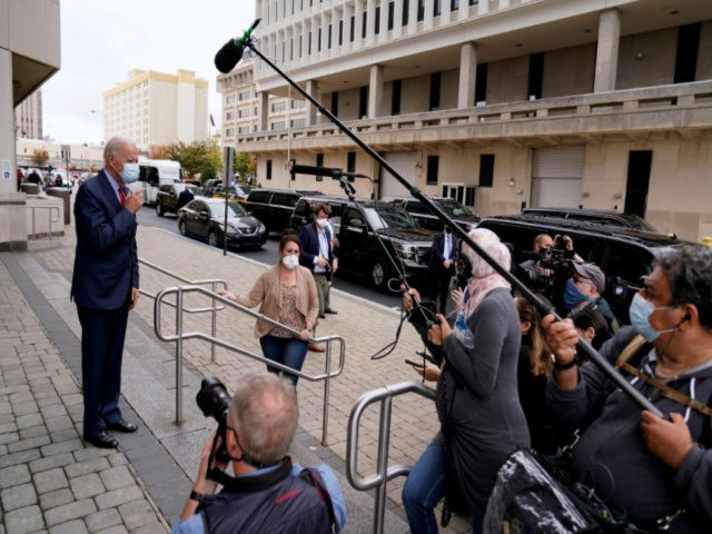 Democratic presidential candidate former Vice President Joe Biden speaks to the media after voting at the Carvel State Office Building, Wednesday, Oct. 28, 2020, in Wilmington, Del. (AP Photo/Andrew Harnik)