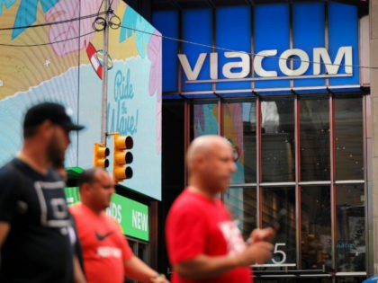 NEW YORK, NY - AUGUST 13: People walk past the Viacom headquarters in Times Square on August 13, 2019 in New York City. Following years of on-and-off talks and negotiations, CBS and Viacom have agreed to merge. The new company will be called ViacomCBS, and Viacom CEO Bob Bakish will …