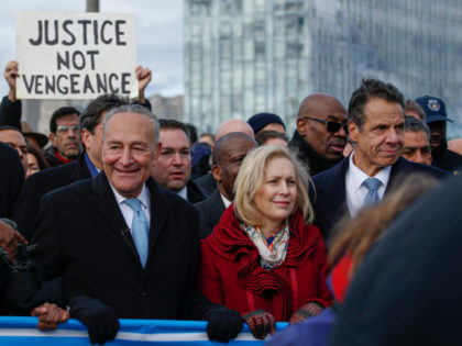 (L-R)Sen. Charles Schumer(D-NY), Sen. Kirsten Gillibrand(D-NY) and New York Governor Andrew Cuomo attend protests in support of the Jewish community called No Hate No Fear at the Brooklyn Bridge on January 5, 2020 in New York City. (Photo by Kena Betancur / AFP) (Photo by KENA BETANCUR/AFP via Getty Images)