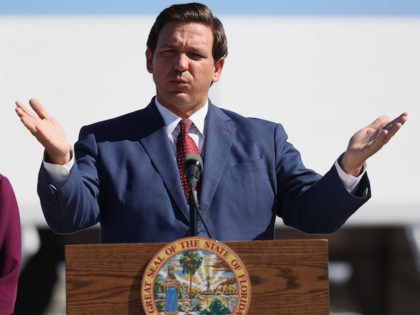 In this January 6, 2021 file photo, Florida Governor Ron DeSantis speaks during a press conference about the opening of a COVID-19 vaccination site. (Joe Raedle/Getty Images)