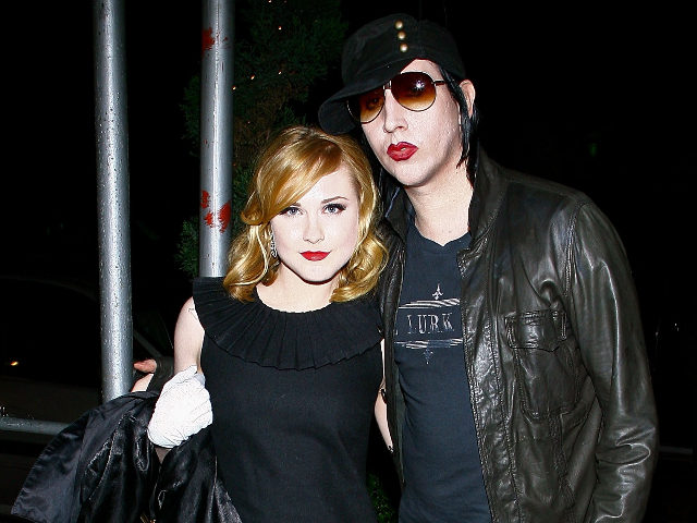 """NEW YORK - SEPTEMBER 13: (Exclusive Access) Actress Evan Rachel Wood and musician Marilyn Manson arrive for the after party for a special screening of """"Across The Universe"""" at Bette on September 13, 2007 in New York City. (Photo by Scott Wintrow/Getty Images)"""