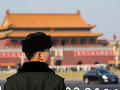 A Chinese People's Liberation Army soldier stands guard in preparation for the Chinese People's Political Consultative Conference at the Great Hall of the People in Beijing on March 2, 2011. Authorities have ramped up security in Beijing ahead of China's upcoming parliamentary session, and amid ongoing calls for anti-government protests, …