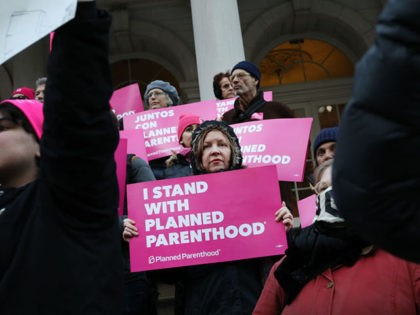 NEW YORK, NEW YORK - FEBRUARY 25: Pro-choice activists, politicians and others associated with Planned Parenthood gather for a news conference and demonstration at City Hall against the Trump administrations title X rule change on February 25, 2019 in New York City. The proposed final rule for the Title X …