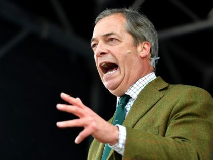 CHESTER, ENGLAND - MAY 06: Nigel Farage speaks on stage at Old Hall Country Club on May 06, 2019 in Chester, United Kingdom. Nigel Farage, the former leader of the U.K. Independence Party, is campaigning for the Brexit Party's contest for this month's European Parliament elections, whose candidates include Annunziata …