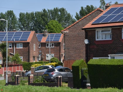 SALFORD, ENGLAND - MAY 16: General view of solar panels on houses around Mereside Grove in Worsley on May 16, 2019 in Salford, England. Labour Party leader Jeremy Corbyn and Rebecca Long Bailey MP, Labour's Shadow Business, Energy and Industrial Strategy Secretary are visiting the area to highlight the party's …