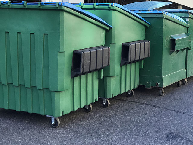 Garbage Dumpsters next to each other.