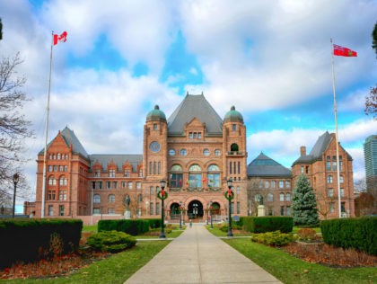 November 23, 2019. Toronto, Canada. Legislative Assembly of Ontario at Queens Park at Christmas time.