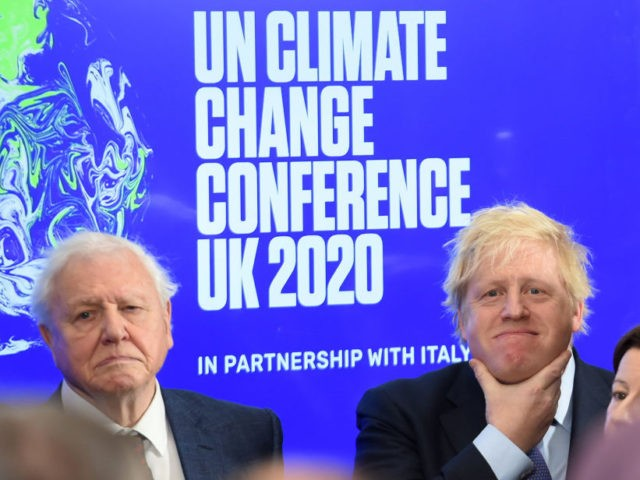 LONDON, ENGLAND - FEBRUARY 04: Sir David Attenborough and Prime minister Boris Johnson (R) attend the launch of the UK-hosted COP26 UN Climate Summit, being held in partnership with Italy this autumn in Glasgow, at the Science Museum on February 4, 2020 in London, England. Johnson will reiterate the government's …
