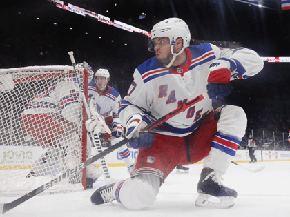 Tony DeAngelo #77 of the New York Rangers skates against the New York Islanders at NYCB Live's Nassau Coliseum on February 25, 2020 in Uniondale, New York. The Rangers defeated the Islanders 4-3 in overtime. (Photo by Bruce Bennett/Getty Images)