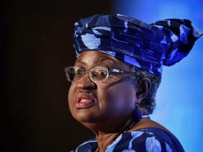 Nigerian former Foreign and Finance Minister Ngozi Okonjo-Iweala attends a press conference on July 15, 2020, in Geneva, following her hearing before World Trade Organization 164 member states' representatives, as part of the application process to head the WTO as Director General. (Photo by Fabrice COFFRINI / AFP) (Photo by …