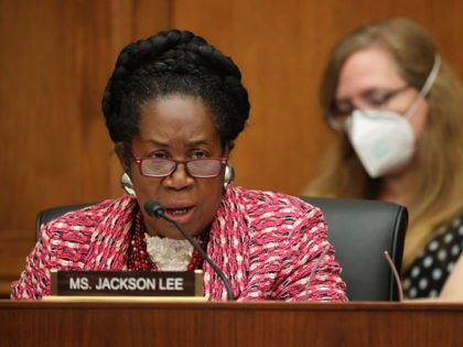 """Representative Shelia Jackson Lee questions witnesses during a hearing about """"Worldwide threats to the Homeland"""" on Capitol Hill on September 17, 2020 in Washington, DC. (Photo by Chip Somodevilla / POOL / AFP) (Photo by CHIP SOMODEVILLA/POOL/AFP via Getty Images)"""