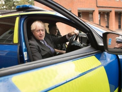 Britain's Prime Minister Boris Johnson gestures during a visit to Northamptonshire Police Headquarters in Northampton on September 24, 2020. (Photo by Stefan Rousseau / POOL / AFP) (Photo by STEFAN ROUSSEAU/POOL/AFP via Getty Images)