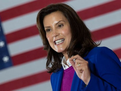 "Michigan Governor Gretchen Whitmer introduces Democratic Presidential Candidate Joe Biden to speak at Beech Woods Recreation Center in Southfield, Michigan, on October 16, 2020. - Joe Biden on October 16, 2020 described President Donald Trump's reluctance to denounce white supremacists as ""stunning"" in a hard-hitting speech in battleground Michigan with …"