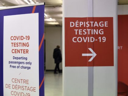 A photograph taken on November 6, 2020 shows the sign of a Covid-19 test centre installed at Orly airport, near Paris. (Photo by ERIC PIERMONT / AFP) (Photo by ERIC PIERMONT/AFP via Getty Images)