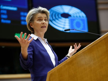 European Commission President Ursula Von Der Leyen addresses European lawmakers during a plenary session on the inauguration of the new President of the United States and the current political situation, at the European Parliament in Brussels on January 20, 2021. (Photo by Francisco Seco / POOL / AFP) (Photo by …