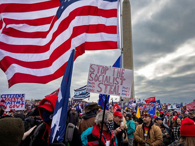 WASHINGTON, DC - JANUARY 6: Pro-Trump protesters gather in front of the U.S. Capitol Building on January 6, 2021 in Washington, DC. Trump supporters gathered in the nation's capital to protest the ratification of President-elect Joe Biden's Electoral College victory over President Trump in the 2020 election. A pro-Trump mob …