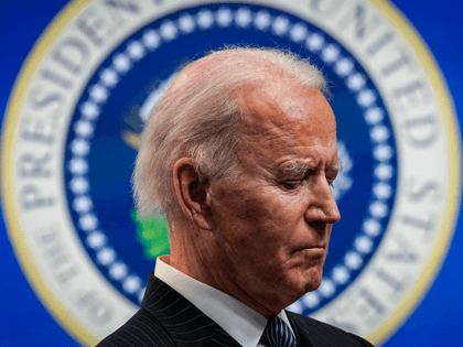 U.S. President Joe Biden pauses while speaking after signing an executive order related to American manufacturing in the South Court Auditorium of the White House complex on January 25, 2021 in Washington, DC. President Biden signed an executive order aimed at boosting American manufacturing and strengthening the federal governments Buy …