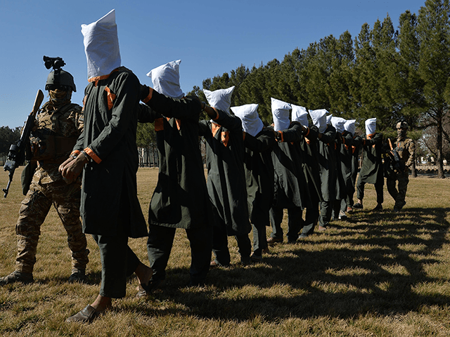 Afghan security forces escort suspected Taliban fighters as they are being presented in front of the media after an operation at the National Directorate of Security (NDS) headquarters in Herat on February 2, 2021. (Photo by HOSHANG HASHIMI / AFP) (Photo by HOSHANG HASHIMI/AFP via Getty Images)