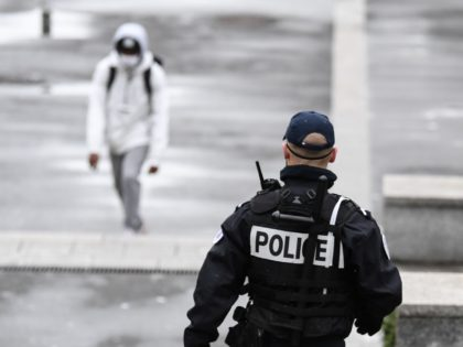 A daily security police officer (Police de la securite du quotidien) patrols in Sarcelles, north of Paris, on February 3, 2021. (Photo by ALAIN JOCARD / AFP) (Photo by ALAIN JOCARD/AFP via Getty Images)