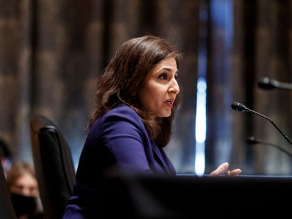WASHINGTON, DC - FEBRUARY 09: Neera Tanden, nominee for director of the Office and Management and Budget (OMB) speaks during a Senate Homeland Security and Governmental Affairs Committee confirmation hearing on February 9, 2021 in Washington, DC. Tanden helped found the Center for American Progress, a policy research and advocacy …