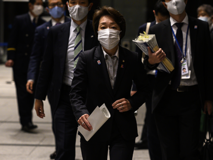 Japan's Olympic Minister Seiko Hashimoto arrives to speak to journalists at the Central Government Building in Tokyo on February 12, 2021. (Photo by CHARLY TRIBALLEAU / AFP) (Photo by CHARLY TRIBALLEAU/AFP via Getty Images)