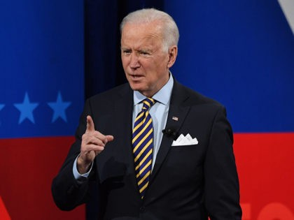 US President Joe Biden participates in a CNN town hall at the Pabst Theater in Milwaukee, Wisconsin, February 16, 2021. (Photo by SAUL LOEB / AFP) (Photo by SAUL LOEB/AFP via Getty Images)