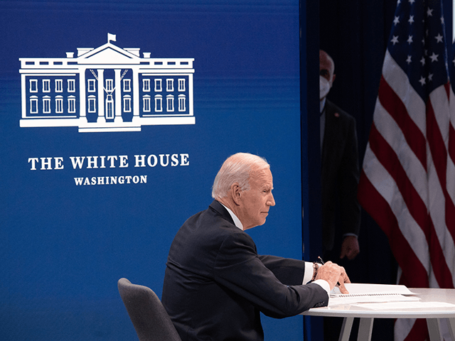 US President Joe Biden holds a roundtable discussion with Black essential workers in the Eisenhower Executive Office Building in Washington, DC, February 23, 2021. (Photo by SAUL LOEB / AFP) (Photo by SAUL LOEB/AFP via Getty Images)