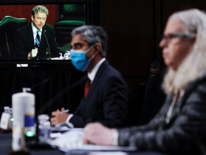 US Senator Rand Paul (on screen), Republican of Kentucky, questions Vivek Murthy (C), nominee for US Surgeon General, and Rachel Levine (R), nominee for Assistant Secretary of Health and Human Services, during a Senate Health, Education, Labor, and Pensions Committee nomination hearing on Capitol Hill in Washington, DC, on February …
