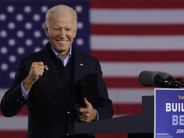 In this September 2020 photo, Joe Biden gestures during a campaign stop outside Johnstown Train Station in Johnstown, Pennsylvania. (Alex Wong/Getty Images)