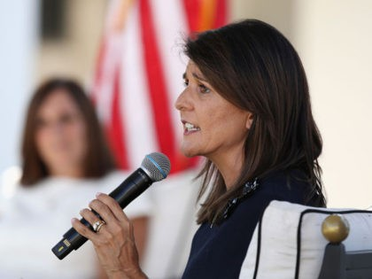 SCOTTSDALE, ARIZONA - OCTOBER 12: Former U.N. Ambassador Nikki Haley (R) speaks at a campaign event for U.S. Sen. Martha McSally (R-AZ) on October 12, 2020 in Scottsdale, Arizona. McSally is looking to gain ground against Democratic Senate candidate and retired astronaut Mark Kelly, who, according to reports, is leading …
