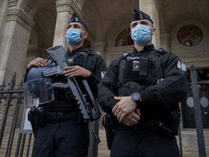 PARIS, FRANCE - OCTOBER 31: Armed French Police stand guard in front of Saint Augustin Church in Paris in the wake of recent terror attacks in France on October 31, 2020 in Paris, France. France ramped up security to 7000 soldiers around schools and places of worship following the fatal …
