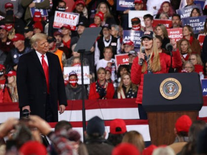 VALDOSTA, GEORGIA - DECEMBER 05: President Donald Trump attends a rally in support of Sen. David Perdue (R-GA) and Sen. Kelly Loeffler (R-GA) on December 05, 2020 in Valdosta, Georgia. The rally with the senators comes ahead of a crucial runoff election for Perdue and Loeffler on January 5th which …