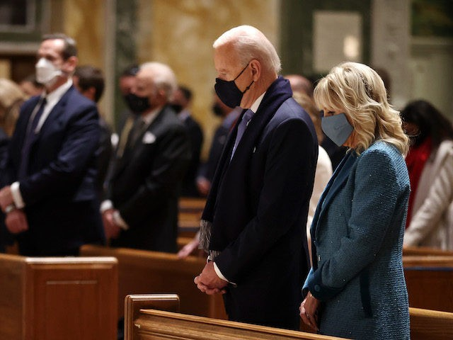 In this January 20, 2021 file photo, Joe Biden attends services at the Cathedral of St. Matthew the Apostle. (Chip Somodevilla/Getty Images)
