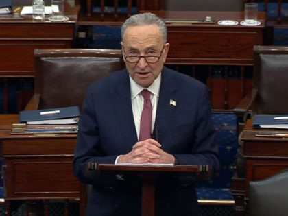 WASHINGTON, DC - FEBRUARY 13: In this screenshot taken from a congress.gov webcast, Majority leader Sen. Chuck Schumer (D-NY) speaks after the Senate voted 57-43 to acquit on the fifth day of former President Donald Trump's second impeachment trial at the U.S. Capitol on February 13, 2021 in Washington, DC. …