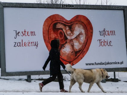 "KRAKOW, POLAND - FEBRUARY 16: A woman and her dog walk past a Giant pro-life and anti-abortion banners by Kornice foundation that reads ""I dependent on you"" on February 16, 2021 in Krakow, Poland. On January 27, 2021 Poland's Constitutional Court ruling from the previous months determined that abortions are …"