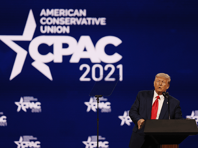 Former President Donald Trump addresses the Conservative Political Action Conference held in the Hyatt Regency on February 28, 2021 in Orlando, Florida. Begun in 1974, CPAC brings together conservative organizations, activists, and world leaders to discuss issues important to them. (Photo by Joe Raedle/Getty Images)