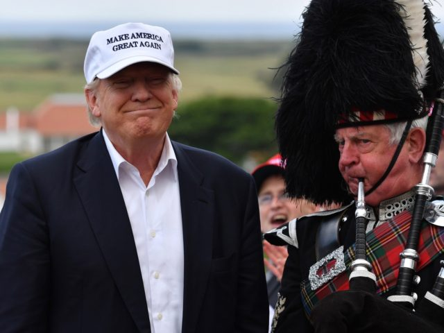 AYR, SCOTLAND - JUNE 24: Presumptive Republican nominee for US president Donald Trump speaks as he reopens his Trump Turnberry Resort on June 24, 2016 in Ayr, Scotland. (Photo by Jeff J Mitchell/Getty Images)