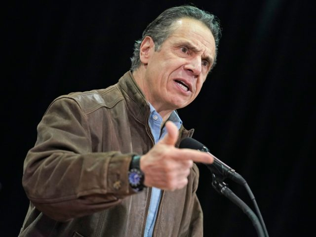 New York Governor Andrew Cuomo speaks during a press conference before the opening of a mass Covid-19 vaccination site in the Queens borough of New York, on February 24, 2021. - The site run by the Federal Emergency Management Agency (FEMA), along with another in Brooklyn, gives priority to local …