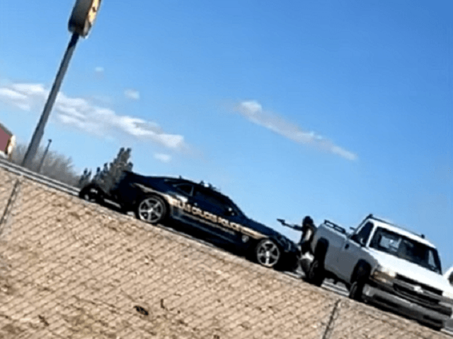 A shootout on Interstate 10 near Las Cruces, NM, left a state police officer dead and another officer wounded. (Video Screenshot, Austin Contreras via KVIA ABC7)