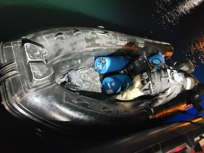 CBP and Border Patrol agents interdict a smuggling incident where 12 people were packed on a small boat. (Photo: U.S. Border Patrol/San Diego Sector)