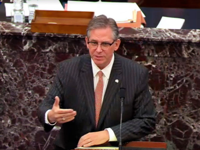WASHINGTON, DC - FEBRUARY 9: In this screenshot taken from a congress.gov webcast, Bruce Castor Jr. defense lawyer for former President Donald Trump speaks on the first day of former President Donald Trump's second impeachment trial at the U.S. Capitol on February 9, 2021 in Washington, DC. House impeachment managers …