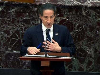 In this screenshot taken from a congress.gov webcast, lead House impeachment manager Rep. Jamie Raskin (D-MD) gives closing arguments on the fifth day of former President Donald Trump's second impeachment trial at the U.S. Capitol on February 13, 2021 in Washington, DC. (congress.gov via Getty Images)