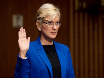 Former Gov. Jennifer Granholm, D-Mich., is sworn-in before she testifies before the Senate Energy and Natural Resources Committee during a hearing to examine her nomination to be Secretary of Energy, Wednesday, Jan. 27, 2021 on Capitol Hill in Washington. (Jim Watson/Pool via AP)