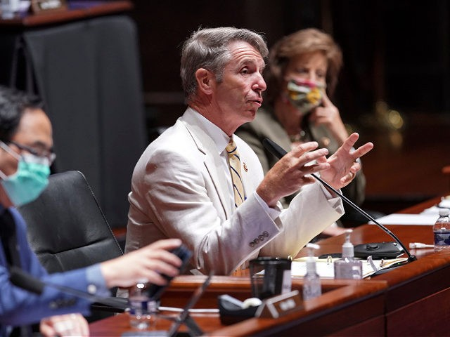 Rep. Robert Wittman, R-Va., speaks during a House Armed Services Committee hearing on Thursday, July 9, 2020, on Capitol Hill in Washington. (Greg Nash/Pool via AP)