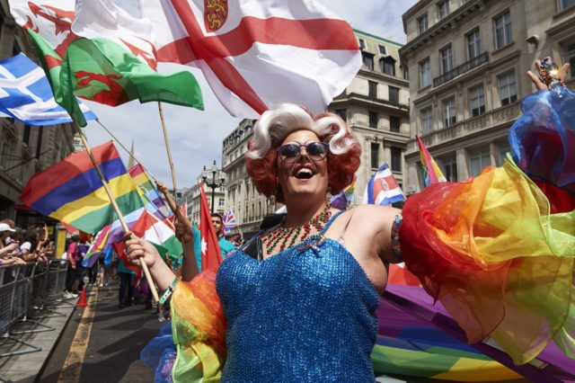 In this 2017 file photo, members of the Lesbian, Gay, Bisexual and Transgender (LGBT) community take part in the annual Pride Parade in London. (Niklas Halle'n/AFP via Getty Images)