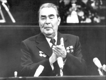 MOSCOW, RUSSIA: Soviet leader Leonid Brezhnev, General Secretary of the Communist Party (CPSU) Central Committee, President of the Presidium of the USSR Supreme Soviet and Chairman of the Constitutional Commission, addresses 04 October 1977 in Kremlin, Moscow, the delegates of the extraordinary 7th session of the 8th convocation of the …
