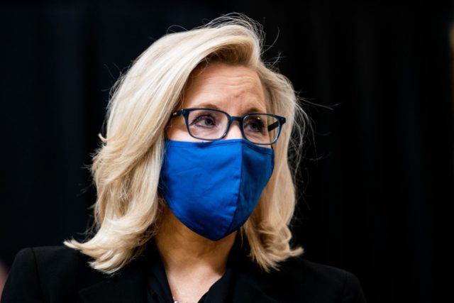 In this file photo, Rep. Liz Cheney attends a congressional tribute to the late Capitol Police officer Brian Sicknick.(Erin Schaff/POOL/AFP via Getty Images)